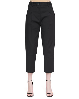 Cropped Pleated Twill Pants