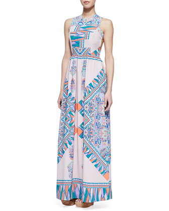 Kitty Cat Blush Scarf Patterned Maxi Dress
