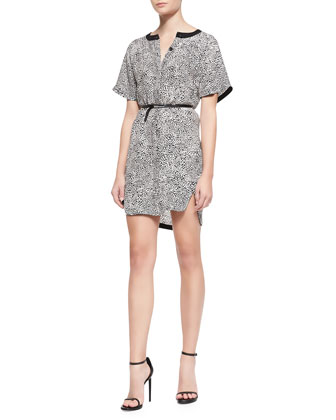 Cheetara Belted Silk Shirtdress, White/Black