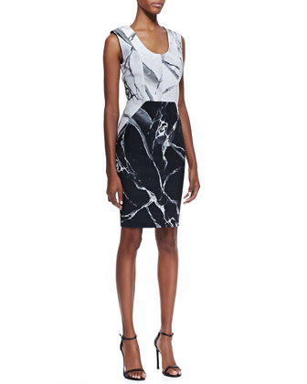 Carrara Contrast Marble Print Sleeveless Dress, White/Black