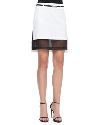 Illusion Belted Short Skirt