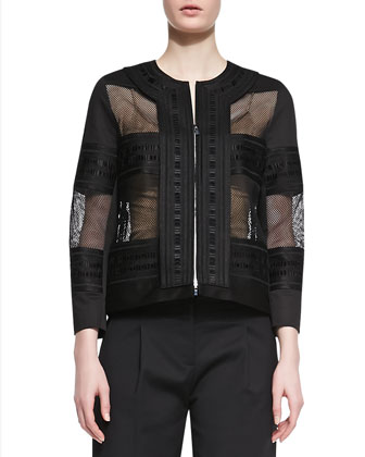 Kuba Embroidered Mesh Jacket & Cropped Pleated Twill Pants