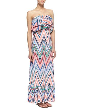 Zigzag Tiered Ruffled Maxi Dress