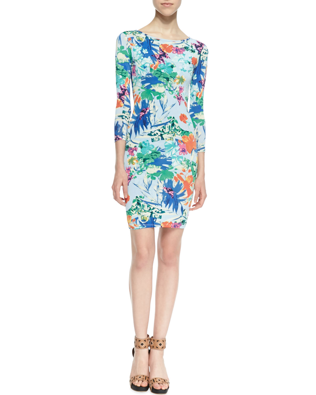 Womens 3/4 Sleeve Floral Print Sheath Dress, Blue   T Bags   Blue ptrn (MEDIUM)