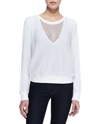 Long-Sleeve Mesh Bump Top, White