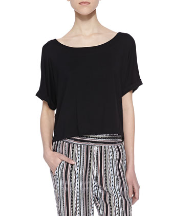 Tali Short-Sleeve Cropped Top, Black