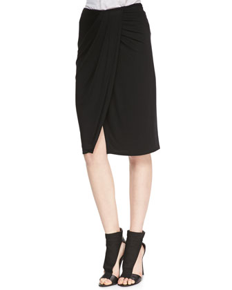 Tali Wrap Front Stretch Knit Skirt, Black