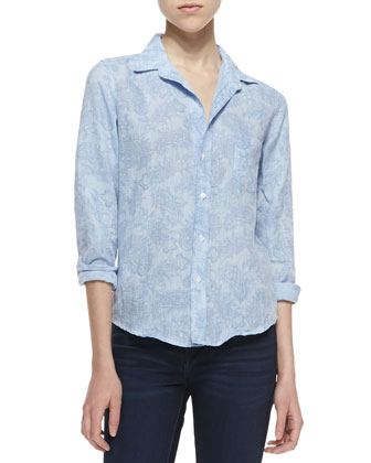 Barry Linen Paisley Button-Down Blouse