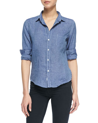 Barry Linen Button-Down Blouse, Dark Blue