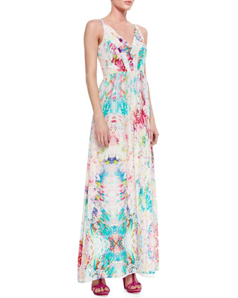 Glam Garden Silk V-Neck Maxi Dress