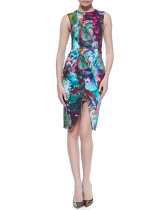 Mosaic Hues Sleeveless Sheath Dress