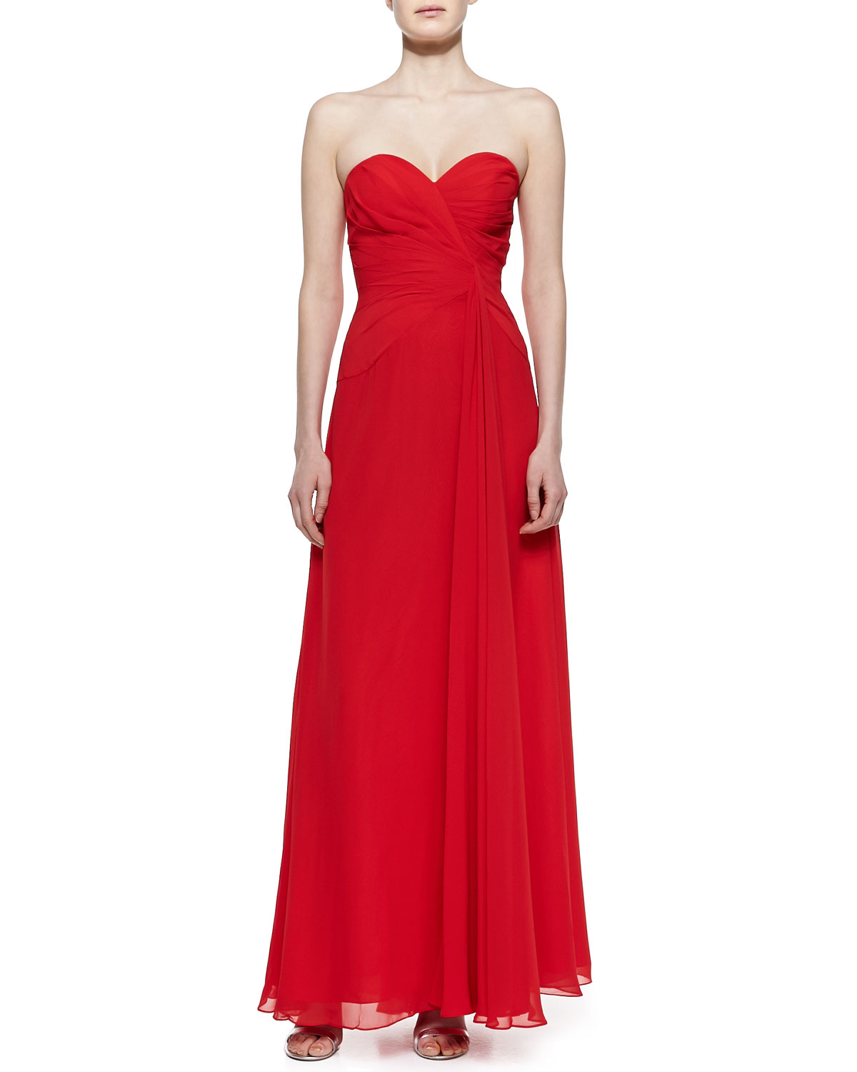 Womens Strapless Draped Gown, Red   Faviana