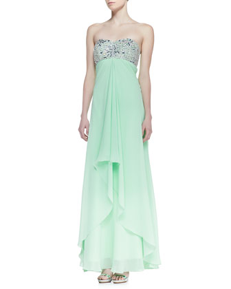 Strapless Beaded Bodice Gown with Cutout Back, Mint