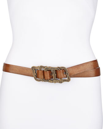 Metallic-Wash-Leather Cluster-Buckle Belt