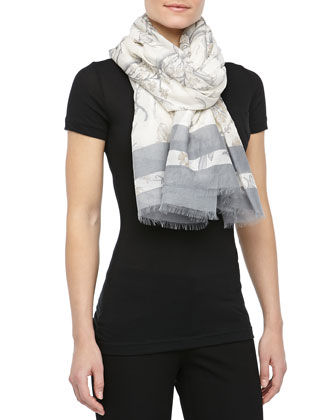 Printed Cotton/Silk Scarf, Graphite