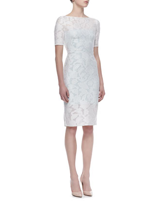 Short Sleeve Lace Overlay Cocktail Dress, Ivory