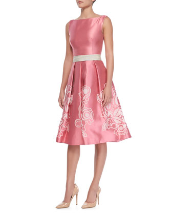 Sleeveless Floral-Skirt Cocktail Dress, Pink