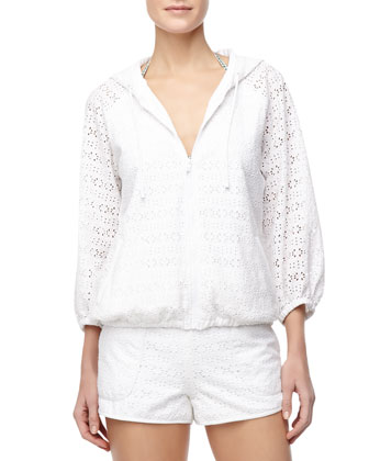 Encintas Hooded Eyelet Zip Jacket & Encintas Pull-On Eyelet Shorts