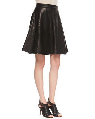 Riley Flowy Leather Skirt