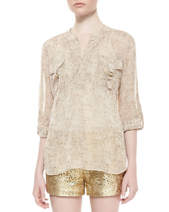 Danielle Runway Long-Sleeve Flap Pocket Top, Cork Foil