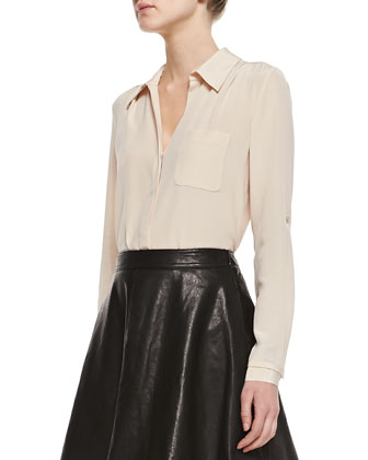 Lorelei Long-Sleeve Silk Blouse & Riley Flowy Leather Skirt
