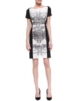 Short Sleeve Baroque Front Dress, Black/White