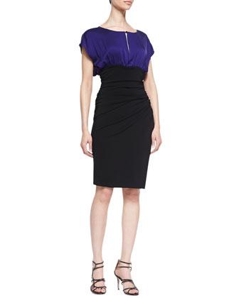 Keyhole Contrast Dress, Purple/Black