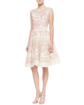 French Knot Raffia Dress, Blush
