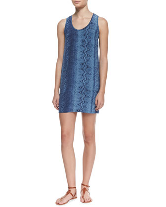 Peri B. Silk Snake-Print Scoop-Neck Dress