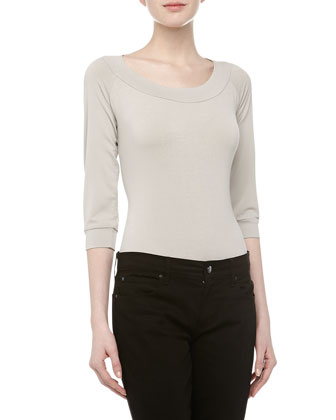 Three-Quarter-Sleeve Scoop Neck Bodysuit, Oyster