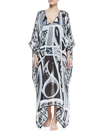Taitu-Print Sheer Silk Caftan Coverup