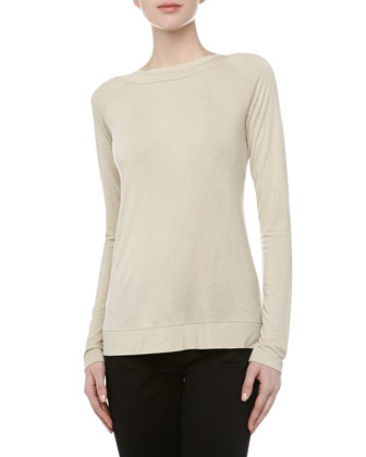 Boat-Neck Crisscross Jersey Top, Natural