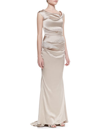 Satin Crepe Crystal Beads Ruched Gown