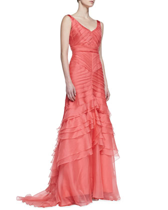 Sleeveless Layered Mermaid Gown, Coral