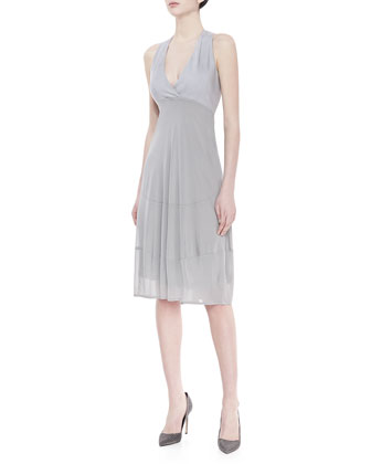 Sleeveless V-Neck Foundation Dress, Oyster