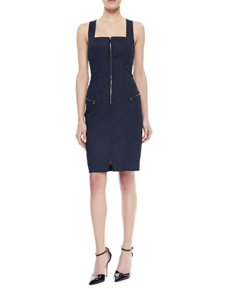 Stretch Denim Tank Dress, Indigo