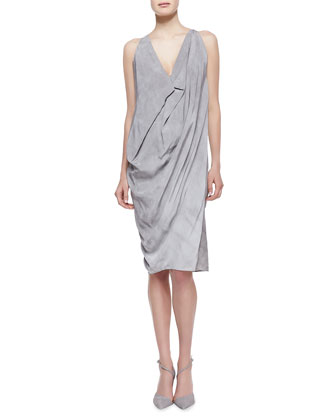 Folded Cowl Chemise Dress, Oyster