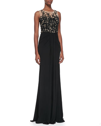 Sleeveless Embroidered Sequin Bodice Gown, Black/Nude
