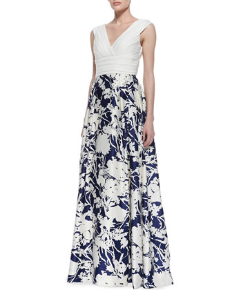 Sleeveless Floral Skirt Ball Gown, Ivory/Twilight Blue
