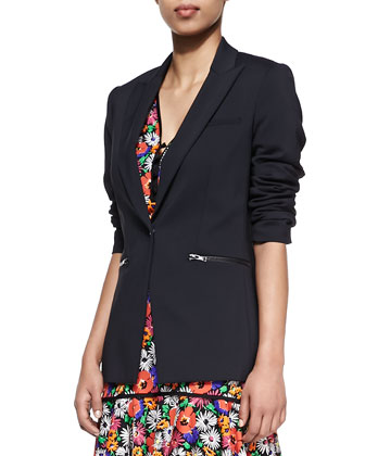 Cotton Scuba Single-Button Blazer & Hothouse Floral-Print Sleeveless Dress