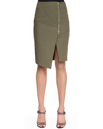 Zip-Front Short Pencil Skirt