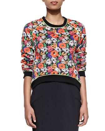 Hothouse Floral-Print Scuba Sweatshirt
