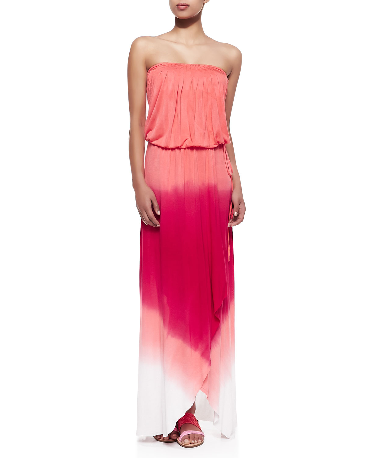 Womens Grayson Strapless Ombre Jersey Maxi Wrap Dress   Young Fabulous and