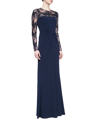 Long-Sleeve Lace Sequin Gown, Navy