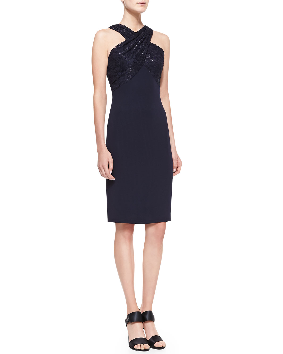 Womens Lace Strap Halter Cocktail Dress, Navy   David Meister   Navy (10)