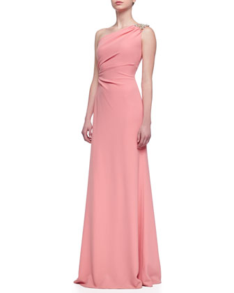 Beaded One-Shoulder Gown, Sorbet