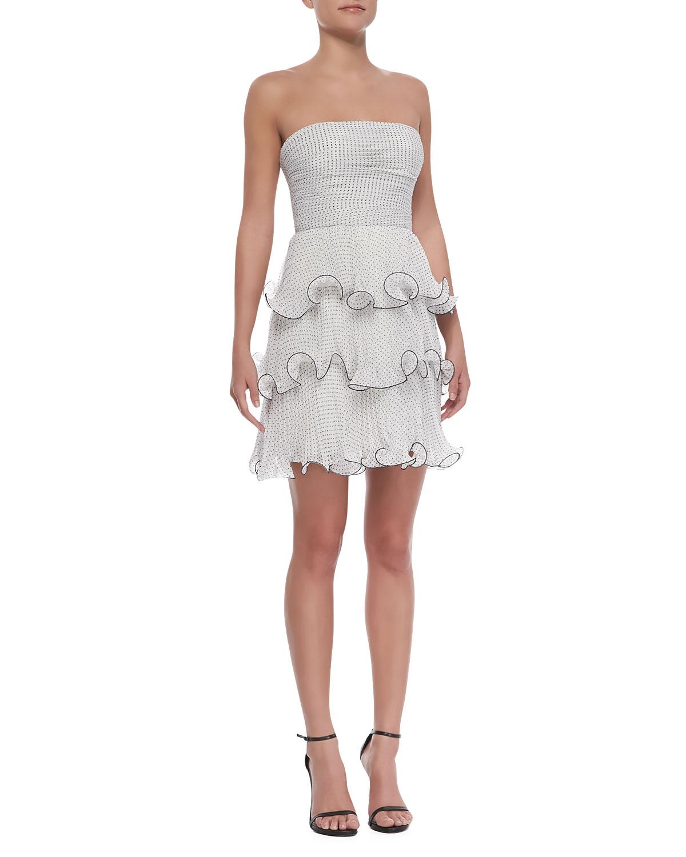 Womens Strapless Tiered Ruffle Polka Dot Dress, Black/White   Erin by Erin