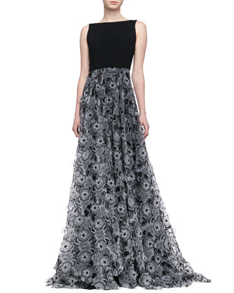 Sleeveless 3-D Floral Skirt Gown, Black/Ivory
