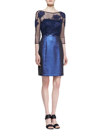 Mesh Embroidered-Top Cocktail Dress, Navy