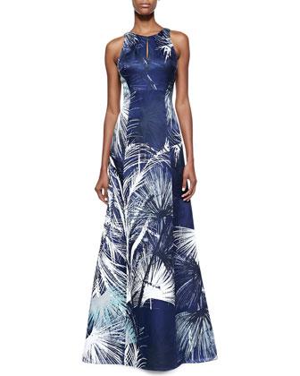 Silk Keyhole Sleeveless Gown
